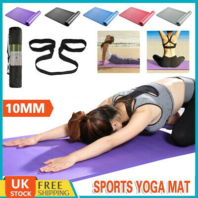 Yoga Mat Pilates Gym Non-Slip Large Thick Soft Mats Gym Home Exercise Strap 10MM