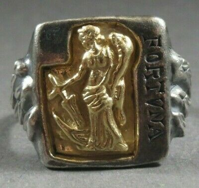 Ancient Roman Military Legionary Gold Silver Ring Fortuna Circa 100 BC - 200 AD