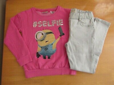 Next Pink Minions Sequinned #Selfie Sweater & Grey Jeggings Outfit - Age 11
