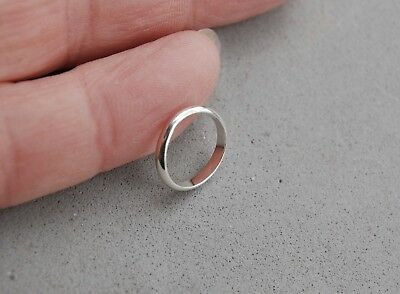 "Sterling Silver Baby Ring Size ""1""  Child Plain Half Round 2mm Christening"