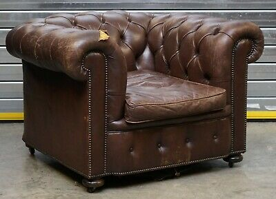 Vintage Chesterfield Aged Distressed Brown Leather Club Armchair For Restoration