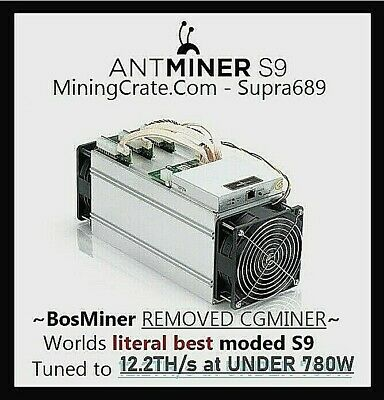 Bitmain Antminer S9  - SILENT TUNED BOSMINER 🔥12.3TH @ 780W 🔥 Quiet NOISELESS