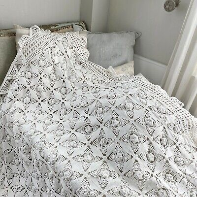 Crochet Lace Coverlet Vintage French hand-made or textile  shabby chic