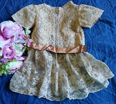 Vintage Hand Made Alencon Embroidered Cotton Lace Doll Dress~Velvet Ribbon~14""