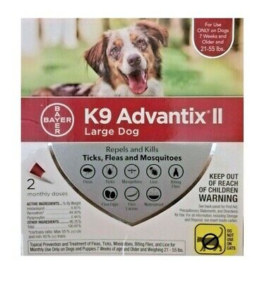 Bayer K9 Advantix II Flea Treatment Large Dog 21-55 lbs 2 Doses (Box May Vary)