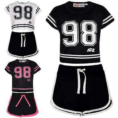 Kids Girls 98 Crop Top & Shorts Set Sports Jogging Belly Tees Summer Outfit Sets