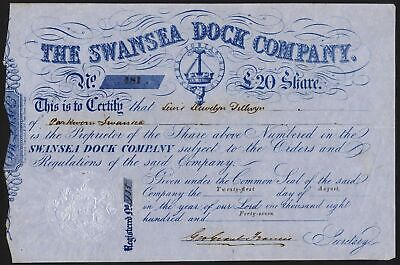 Swansea Dock Co., £20 share, 1847