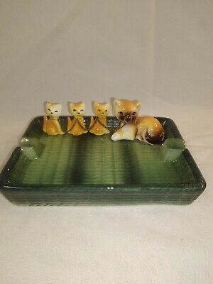 Vintage 1950s TILSO Japan Ceramic Cats Ashtray