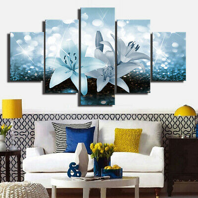 5 Set HD Framed Prints Modern Abstract Canvas Oil Painting Living Room Decor