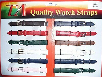Mens Ladies Genuine Leather Watch Strap Band Colour Collection Sizes 10mm - 14mm
