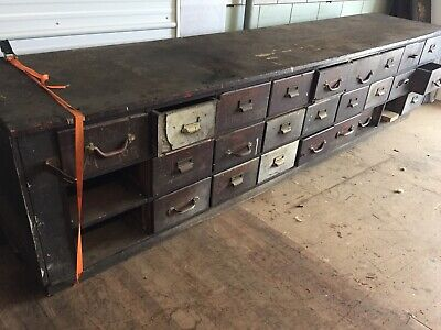 Antique OAK STORE COUNTER 27 drawers as-is PRIMITIVE