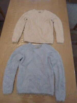 Next Girls Fluffy Jumpers Age 9-10 2 Sets In Pink And Blue