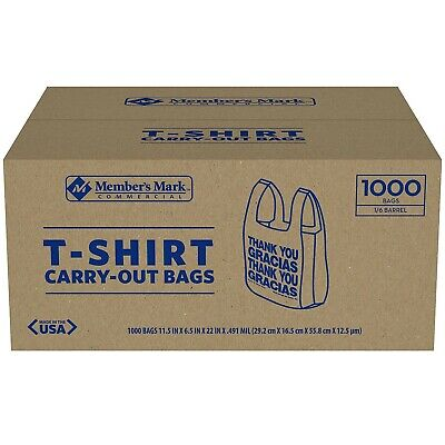 T-Shirt Thank You Plastic Carry Out Bag Grocery 1000CT Recyclable Free Shipping!