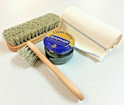 4 PIECE Shoe Shine Travel Kit Leather Care Set Brush & SAPHIR BLACK Cream Polish