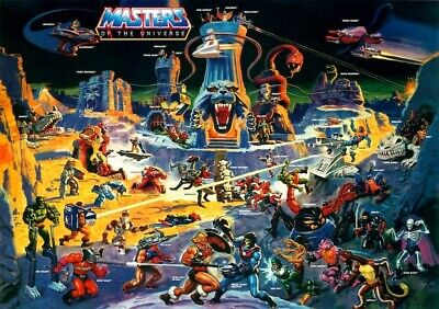 "He-Man Masters of the Universe ""Eternia"" POSTER 1986 Rare Large MOTU"