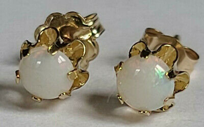 Simple 4mm Cabochon Cut Round Opal Stud Earrings 14k Yellow Gold Estate Classic