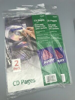 AVERY 75257 CD PAGES Lot Of 2 Packs. Fits Standard Three Ring Binder. Acid Free
