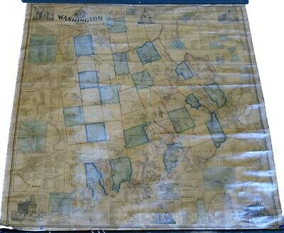 H.F. Walling Topographical Map of the County of Washington Maine 1861 Good 62x60