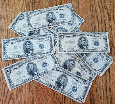 1953-A Well Circulated Five Dollar ($5) Silver Certificate Bill - Buying 1 Note