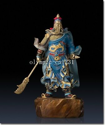 18'' superfine brass colored drawing carvings Three Kingdoms Warrior Guan Gong