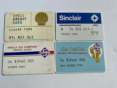 Vintage Lot of 4 GAS STATION CREDIT CARDS Shell Skelly Sinclair