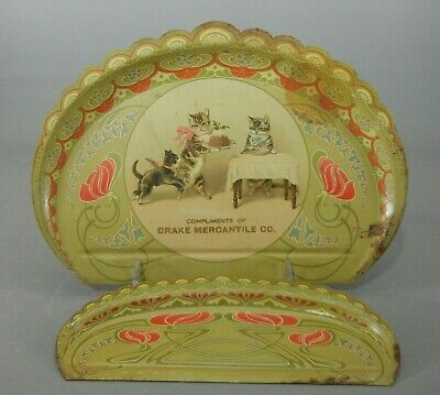 Antique Advertising Bread Crumb Tray Set -- Kittens!