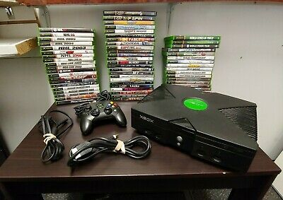 Original Xbox  Black Console Bundle with 6 Game Controller Cables NTSC Fast Ship