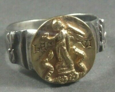 Ancient Roman Military Legionary Gold Silver Ring Legion VI Victrix Circa 41 BC