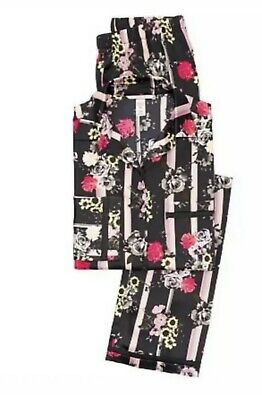 NWT Victorias Secret Pajama Set, Size XL Black Floral Stripes Silk $84