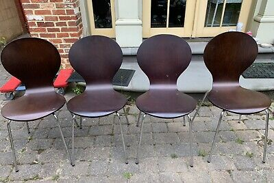 Molded Plywood Chrome Stacking Chairs Dining Chairs Set Of 4