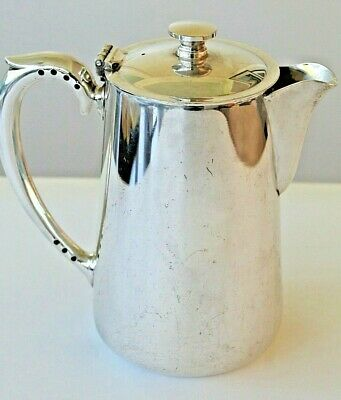 Vintage silver plated coffee pot or hot water jug with hinged lid