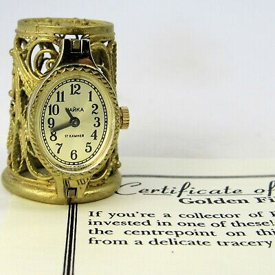 Thimble Guild, Golden Filligree Clock, Hand Made From Fine Gold Plated Wire