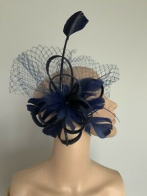 Navy Blue Feather Hair Comb Fascinator Wedding Ladies Race Day Accessories