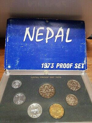 Nepal 7-Coin Proof Set 1973 Nice In Original Case