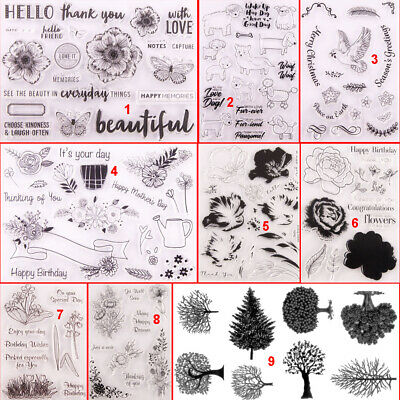 Flower Transparent Silicone Clear Stamps DIY Branch Dog Sheep Rose Tree Grass