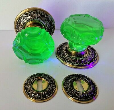 1 Pair ANTIQUE Baccarat  DOOR KNOBS - URANIUM GREEN Glass - VICTORIAN ERA