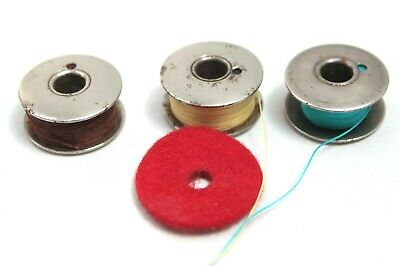 THREE Vintage Singer Sewing Machine Cotton Spools and ONE red felt