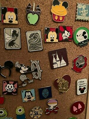 Disney Pin Trading 25 Assorted Pin Lot No Doubles Tradable Hidden Mickeys Disney