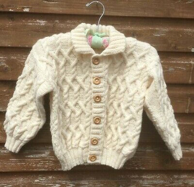 """New Aran Cardigan Cream Soft Wool Girls Button Cable 32 """" Collar Hand Knit Cable"""