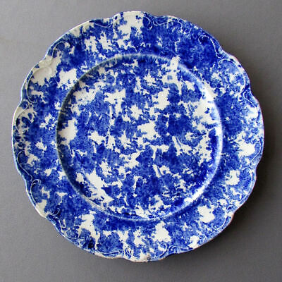 "ANTIQUE 19th Century BLUE SPONGEWARE 10 1/4"" POTTERY PLATE"