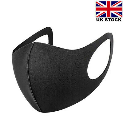 Face Mask Washable Reusable Black Adult Unisex Protective Covering