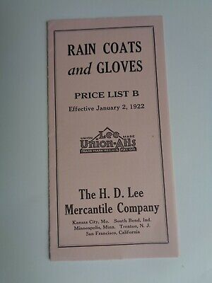 H.D.Lee Mercantile Co,,1922 rain coats & gloves price list
