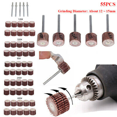 50Pcs Sanding Sandpaper Flap Wheel Brush Dremel Rotary Die Grinder Drill Bit