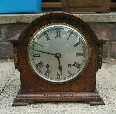Small EMPIRE British made time strike mantel clock.SEE VIDEO.