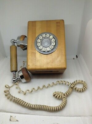 Western Electric Butcher Block Wall Telephone Phone Push Button Vintage (o)