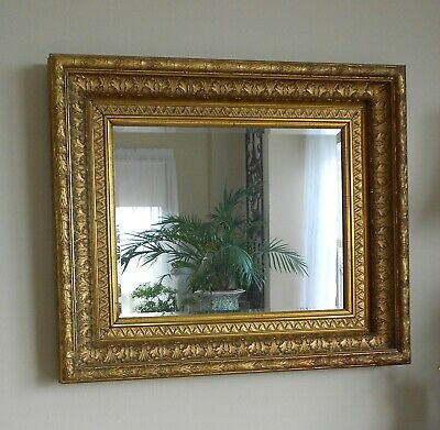 ****Antique Gilded Wood Frame With Mirror 29 X 25 Lovely Condition***