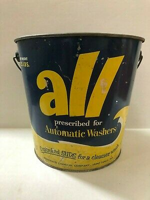VINTAGE 1950'sALL DETERGENT LAUNDRY SOAP GALVANIZED STEEL 25LB BUCKET