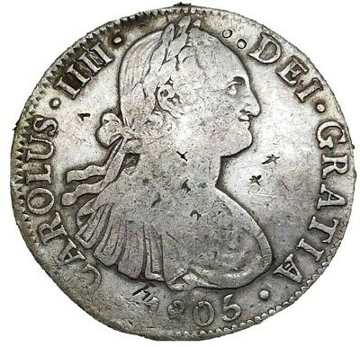 Mexico 1805 TH 8 Reale Scarce Chop Marks $1 Colonial Milled Silver Dollar Crown