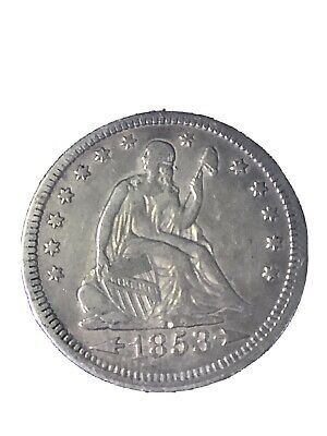 """1853 Seated Liberty Quarter """"Arrow and Rays"""" Outstanding Nice Tonin ,You Grade"""