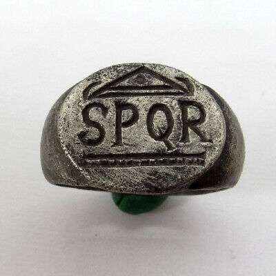 Roman Ancient Artifact Silver Ring With Spqr Senatus Populusque Romanus